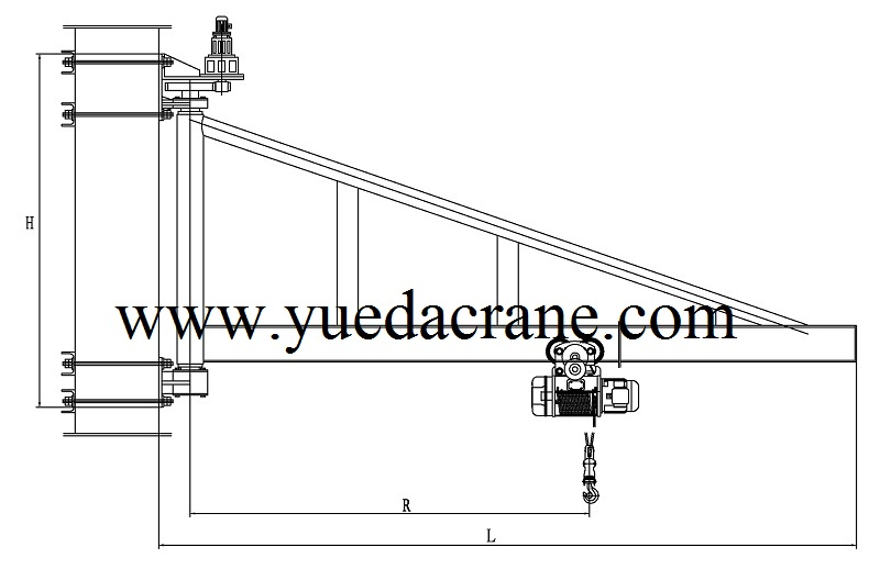 drawing of BZQ model wall mounted jib crane